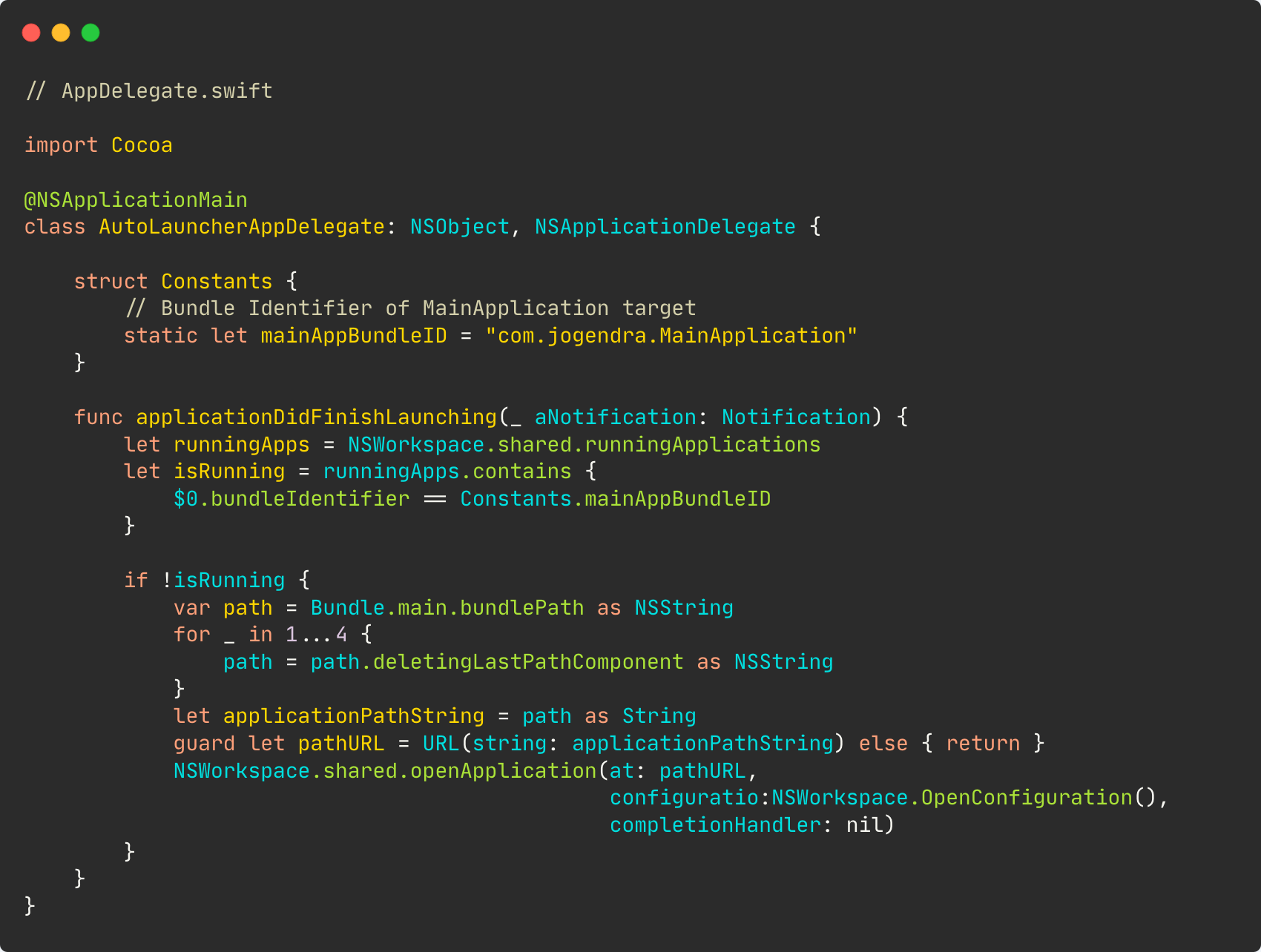 App delegate code