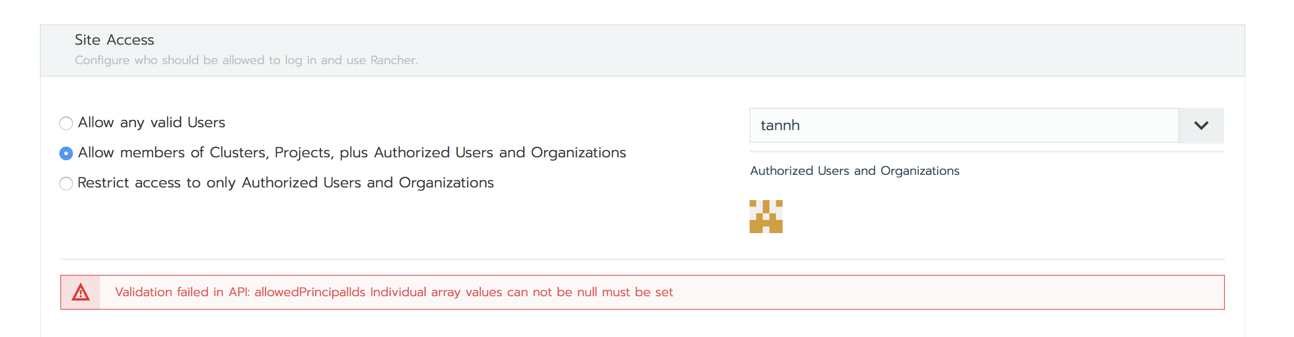 Security, Authentication, LDAP: rancher server error on