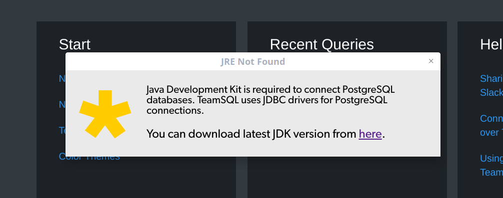The app prompts to install the JDK instead of the JRE