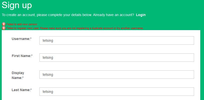 User registration fails when