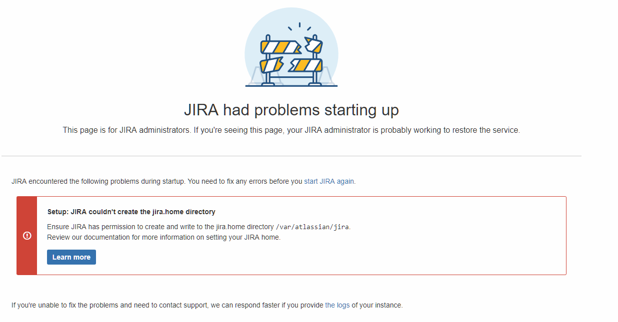 JIRA couldn't create the jira home directory · Issue #53