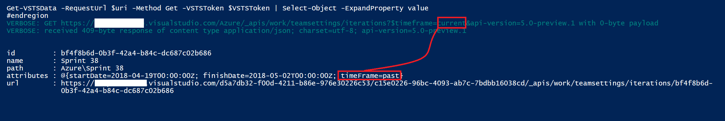 VSTS REST API List Iterations does not accept 'past' or