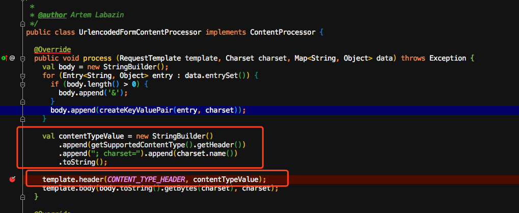 why UrlencodedFormContentProcessor change HTTP head ContentType 's