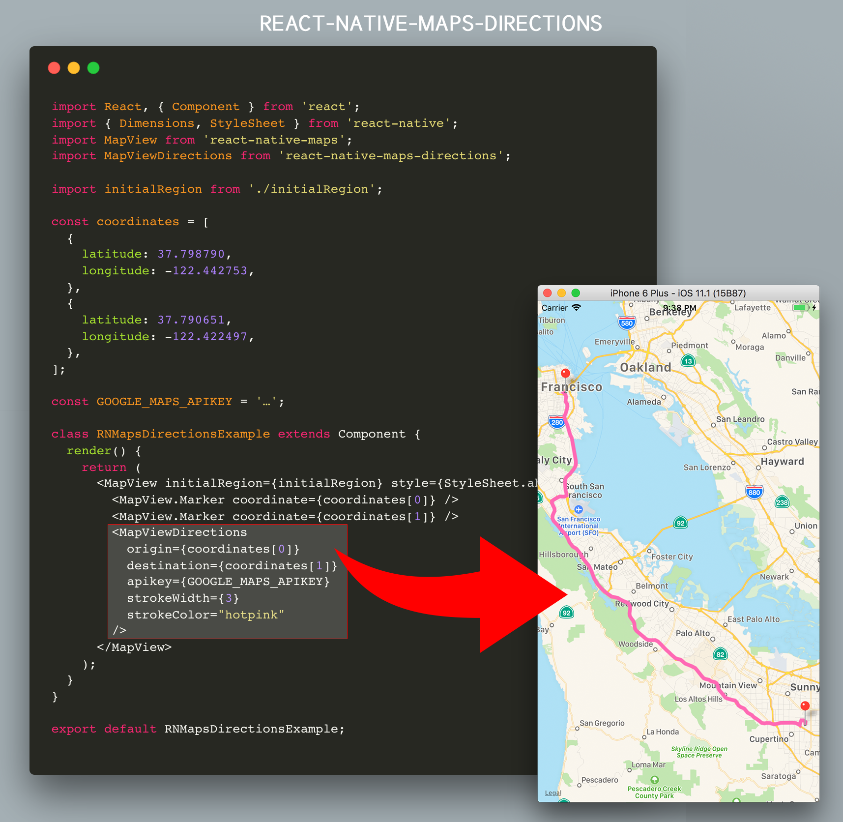 react native maps directions