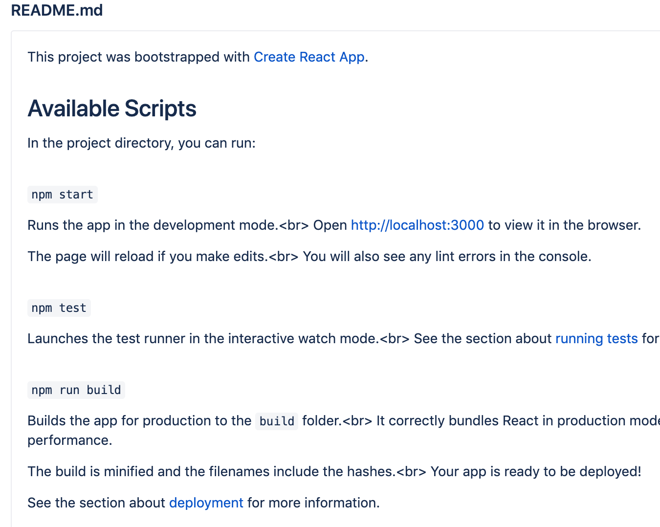 react-scripts README template contains <br> which shows on