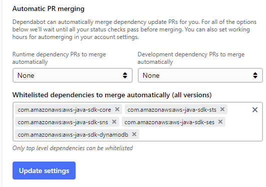Wildcards for auto-merge in Java · Issue #267 · dependabot/feedback