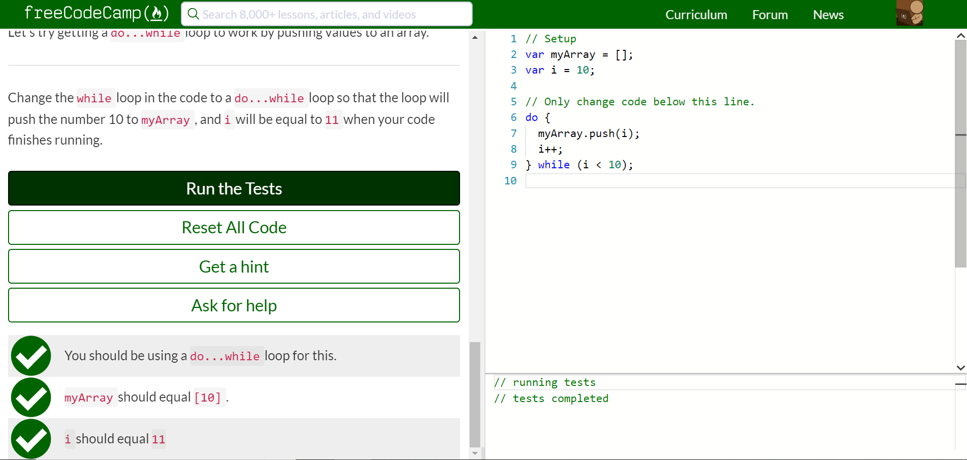 Iterate with JavaScript Do…While Loops · Issue 20 ...