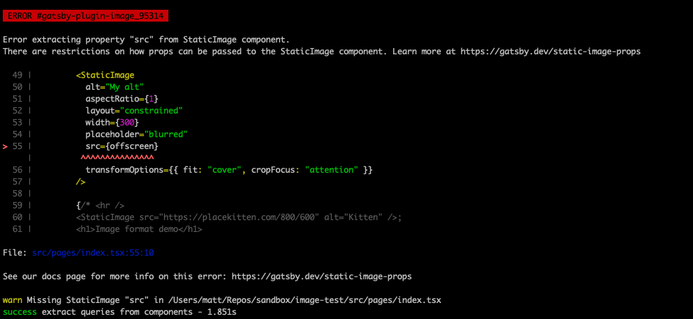 CLI showing an error with a description, a codeframe with the relevant code, and link to documentation