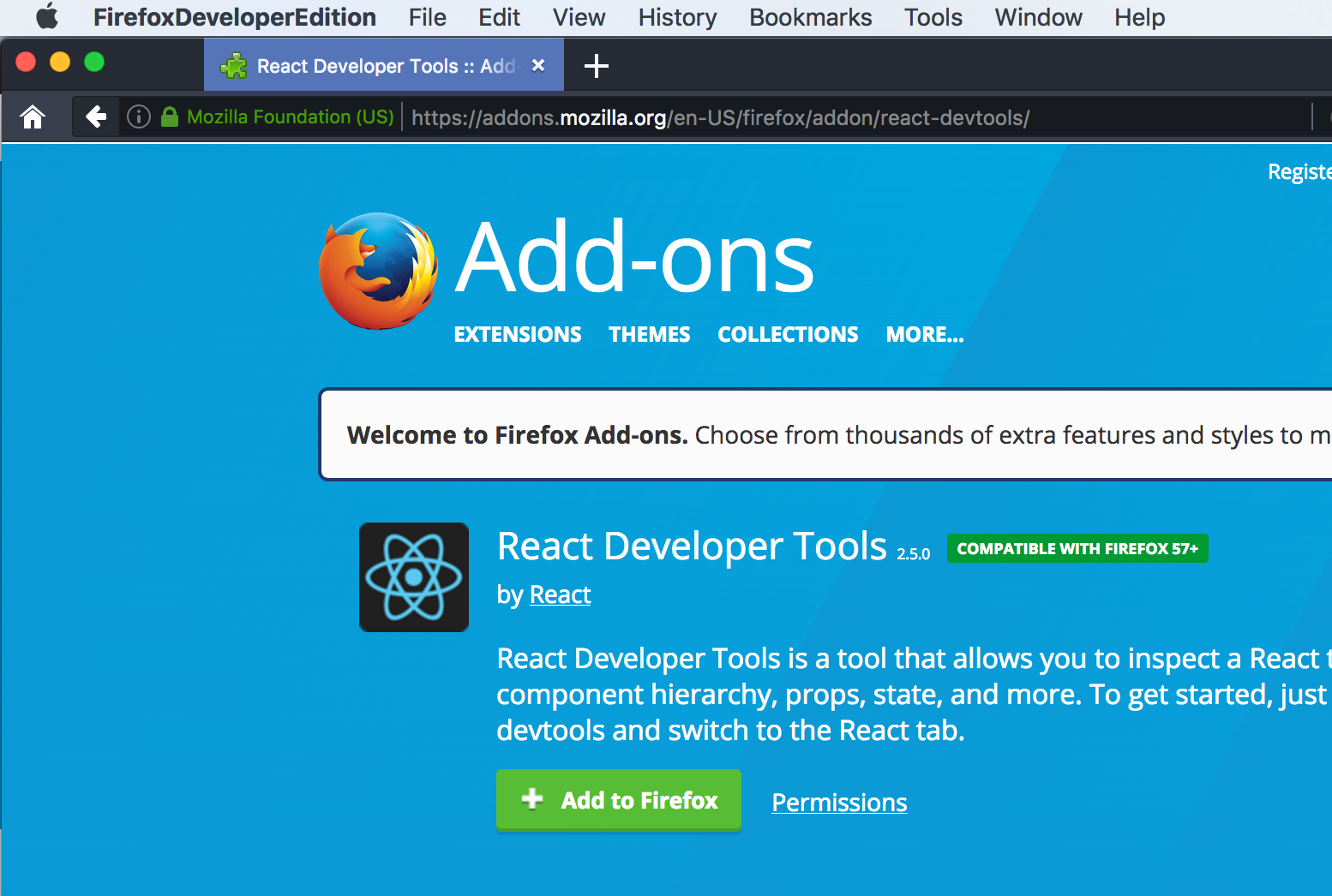 can't install react devtool extension with firefox developer