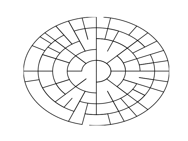 More complex maze generation by circular implementation of