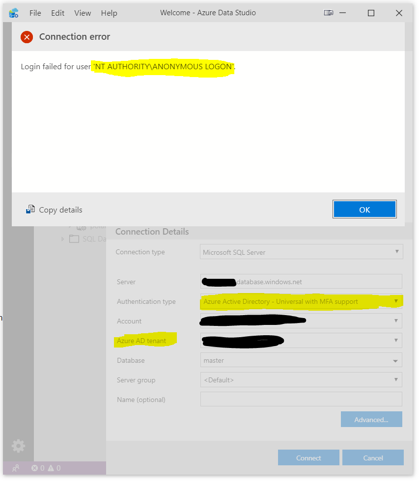 Cannot connect to Azure SQL using AAD · Issue #5952