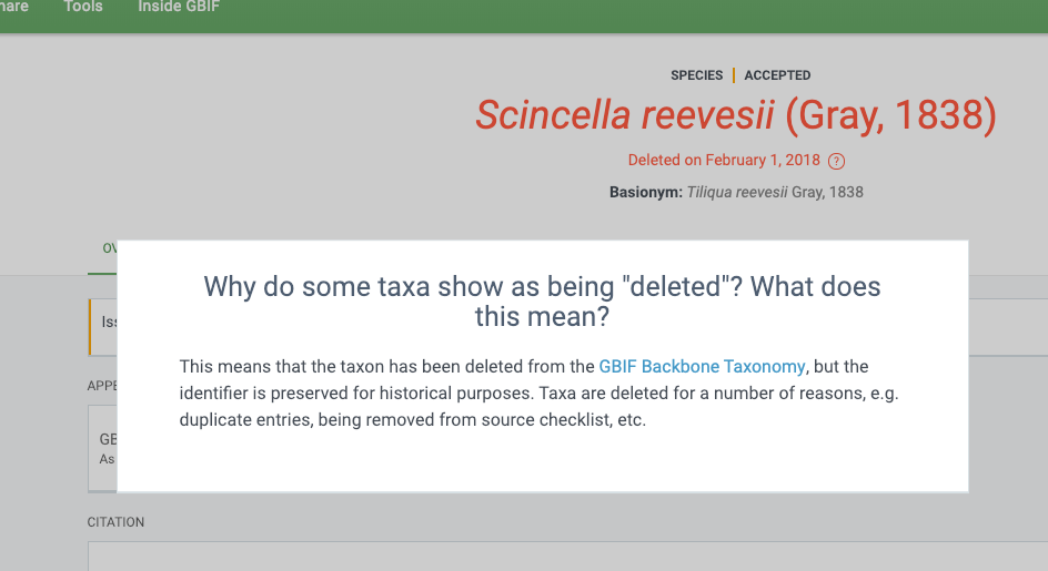 Why Does Some Taxon Show Deleted Issue 1693 Gbifportal