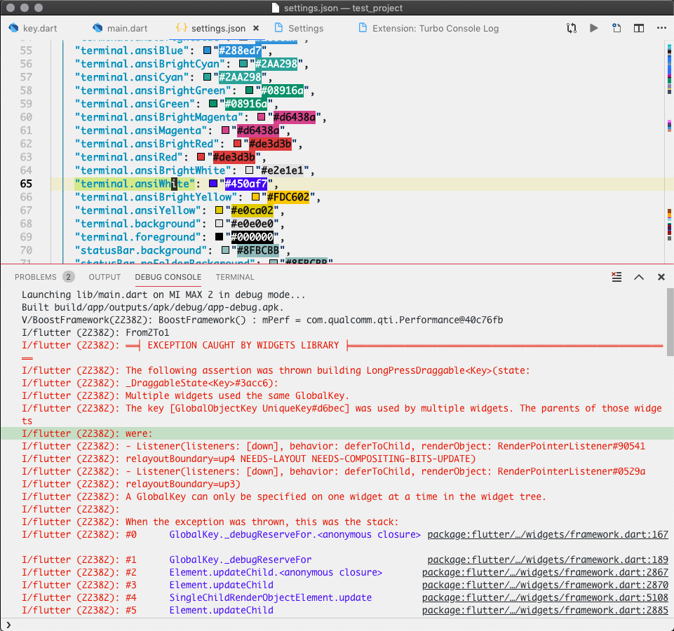 The colors of text in the debug console window are