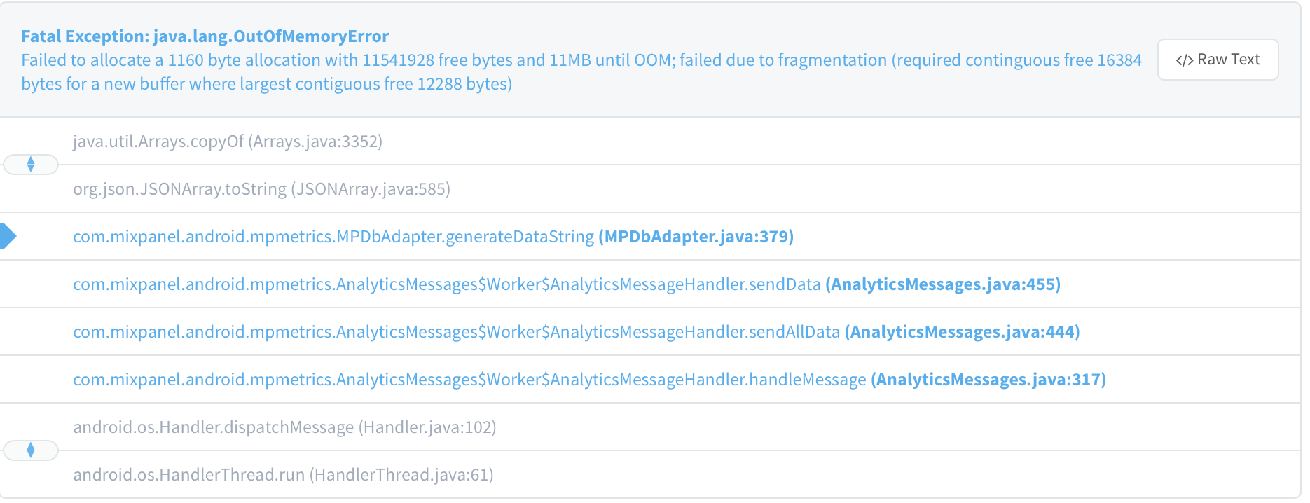 Fatal Exception: java lang OutOfMemoryError · Issue #470 · mixpanel