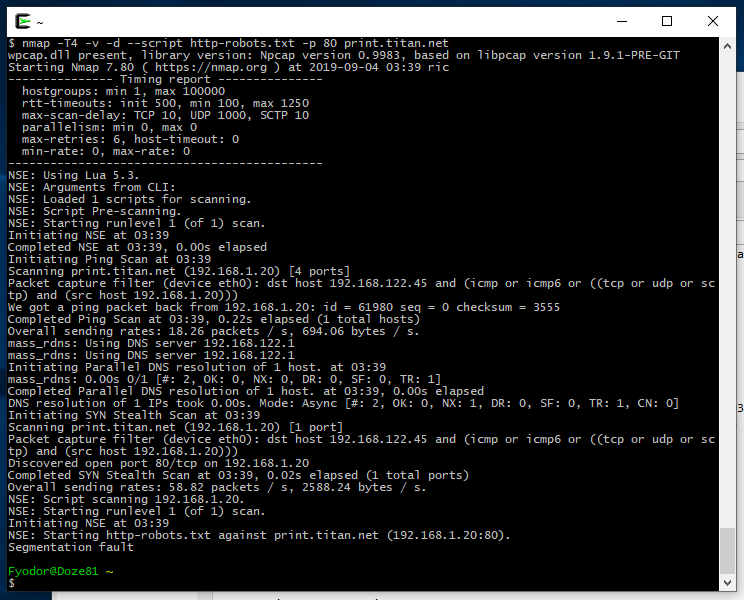 nmap-segfault-hp-printer-p80-screenshot