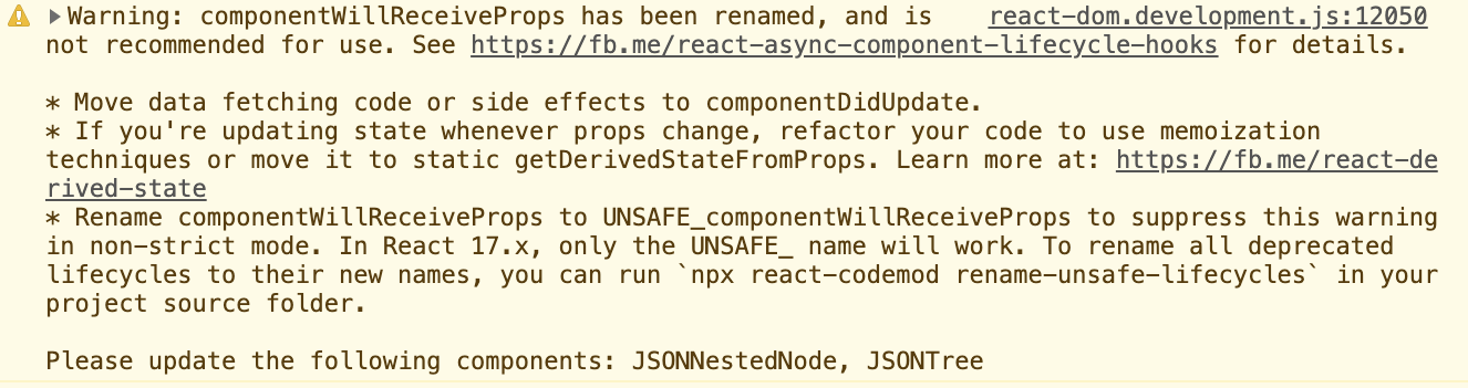 React 16 9: componentWillReceiveProps has been renamed, and