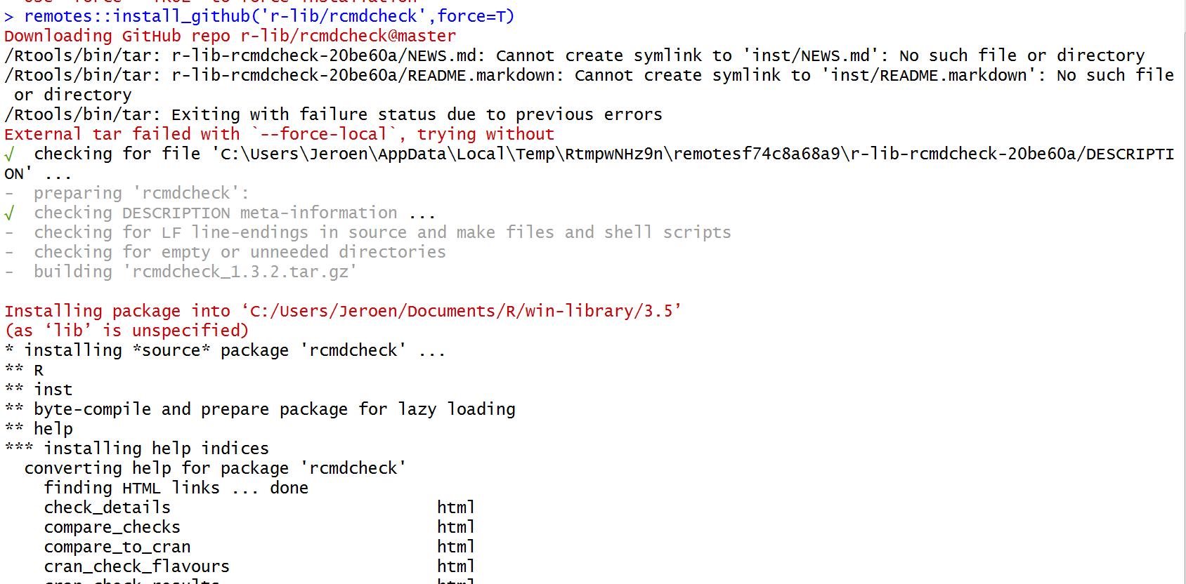 Windows: trouble finding tar/rtools · Issue #249 · r-lib