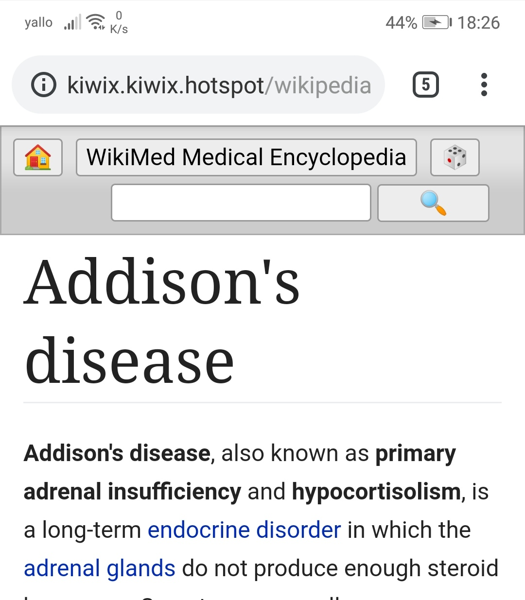 Wikipedia Article name appears twice only on KaiOS devices