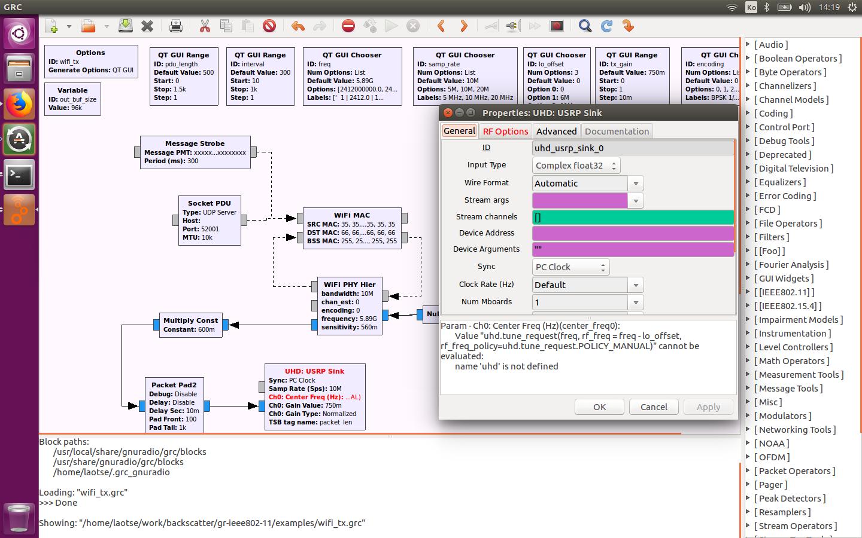 UHD USRP Sink Module Failed · Issue #150 · bastibl/gr-ieee802-11