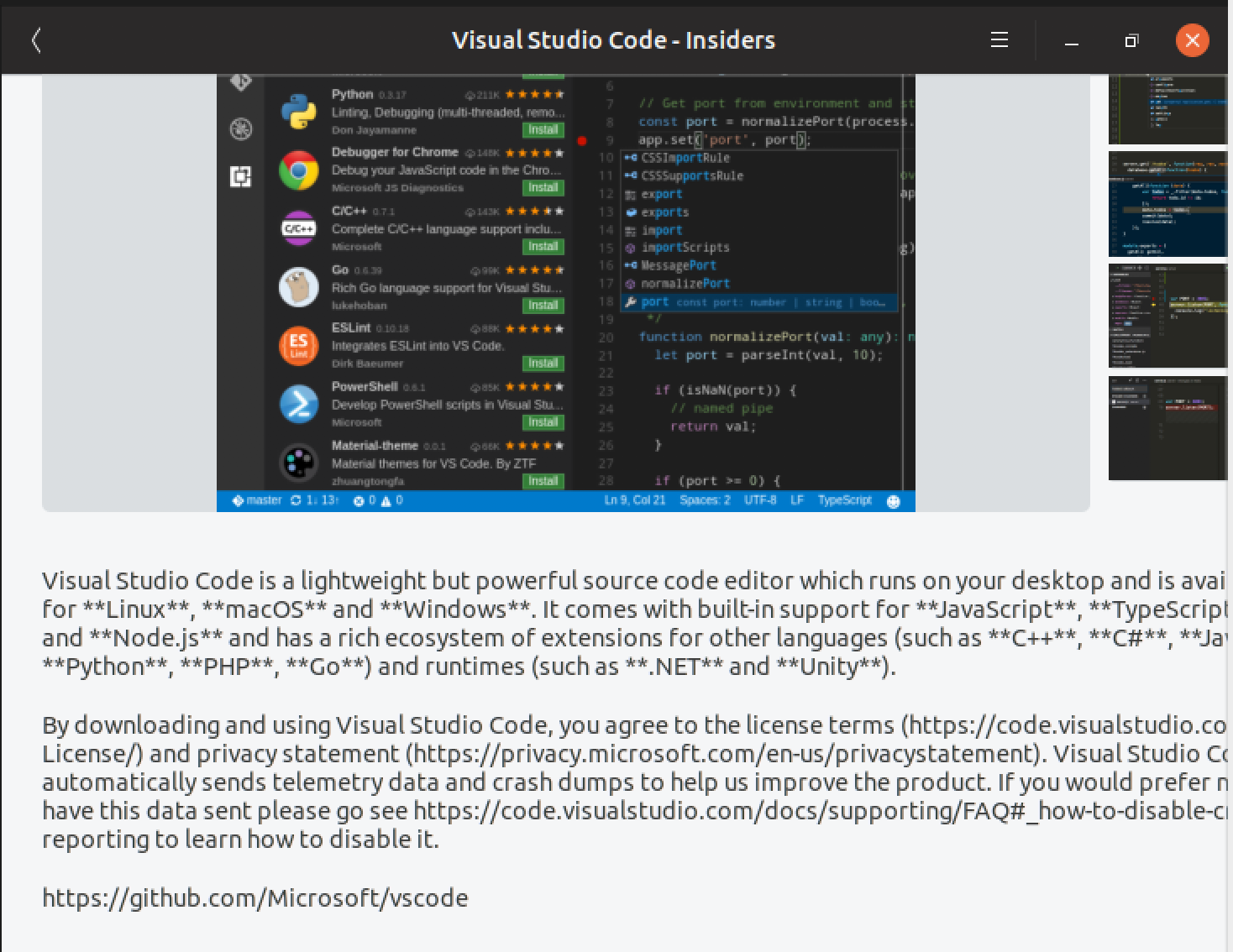 Improve snap metadata · Issue #72571 · microsoft/vscode · GitHub