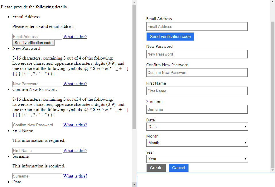 Adding JavaScript to AD B2C custom sign up page - User flow