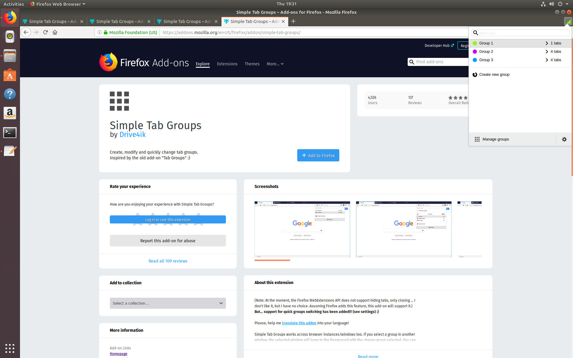 Tabs missing from Group after closing / restarting Firefox