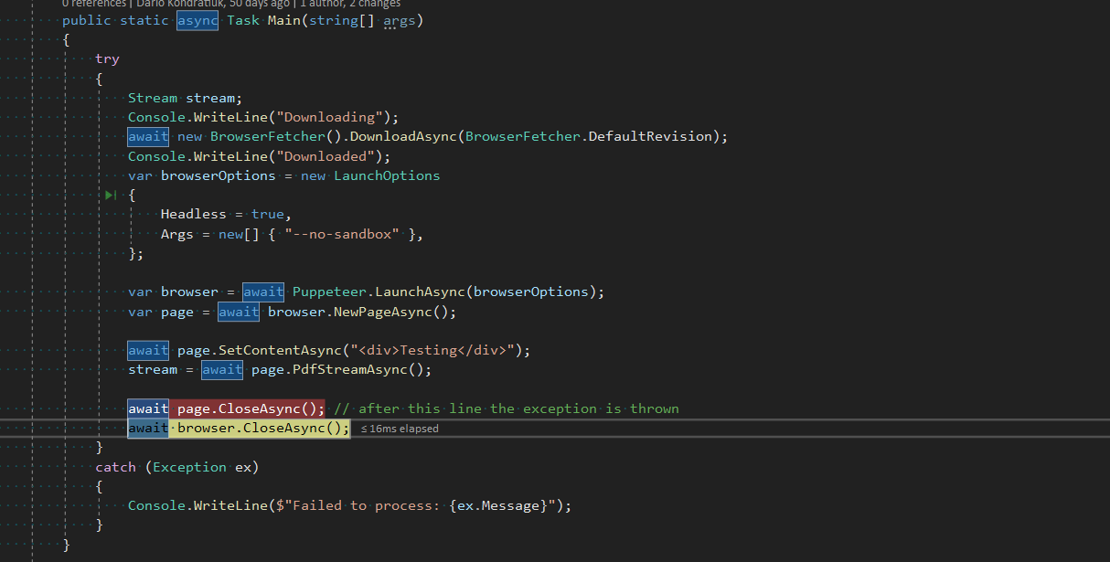 TargetClosedException after Page CloseAsync() · Issue #1016