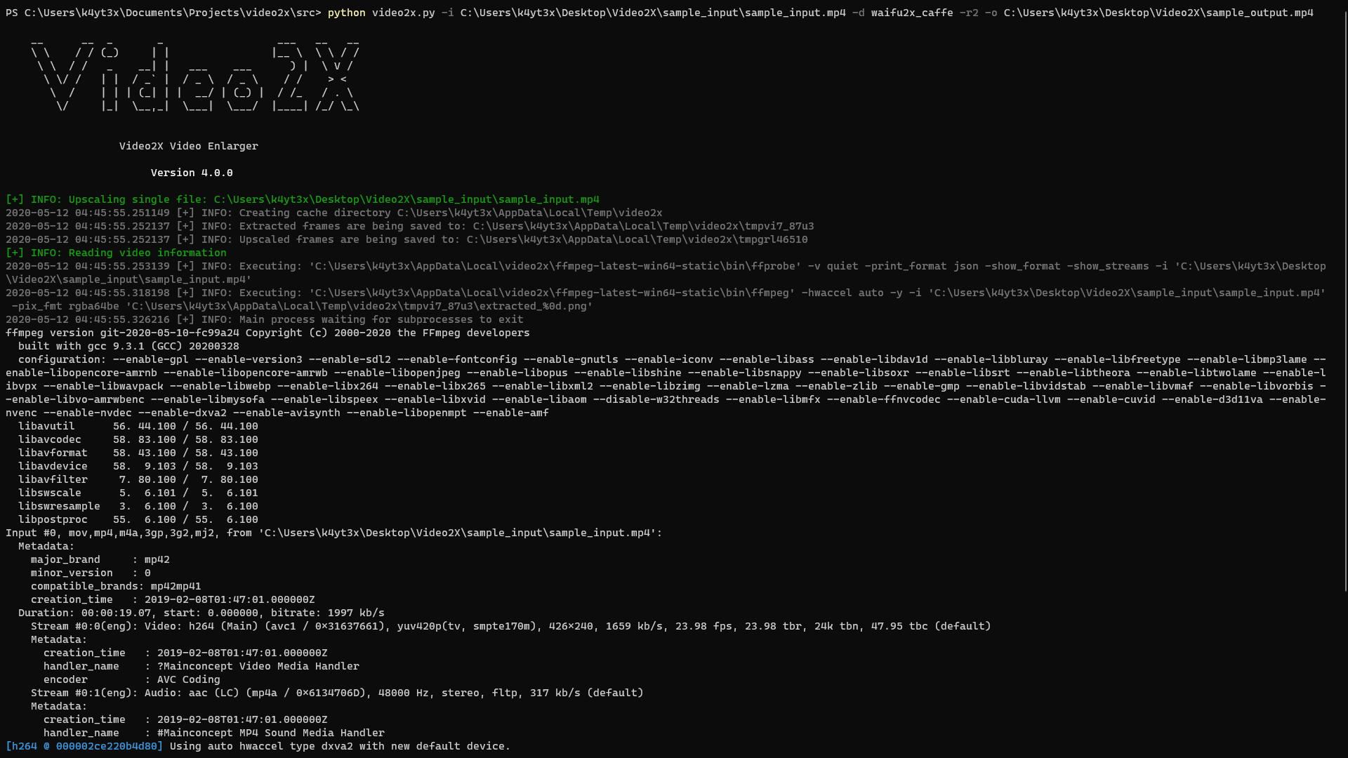 Video2X CLI Screenshot