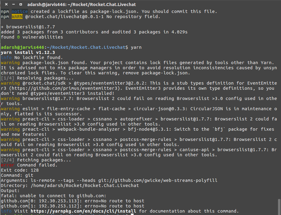 Getting error while installing dependencies using yarn and