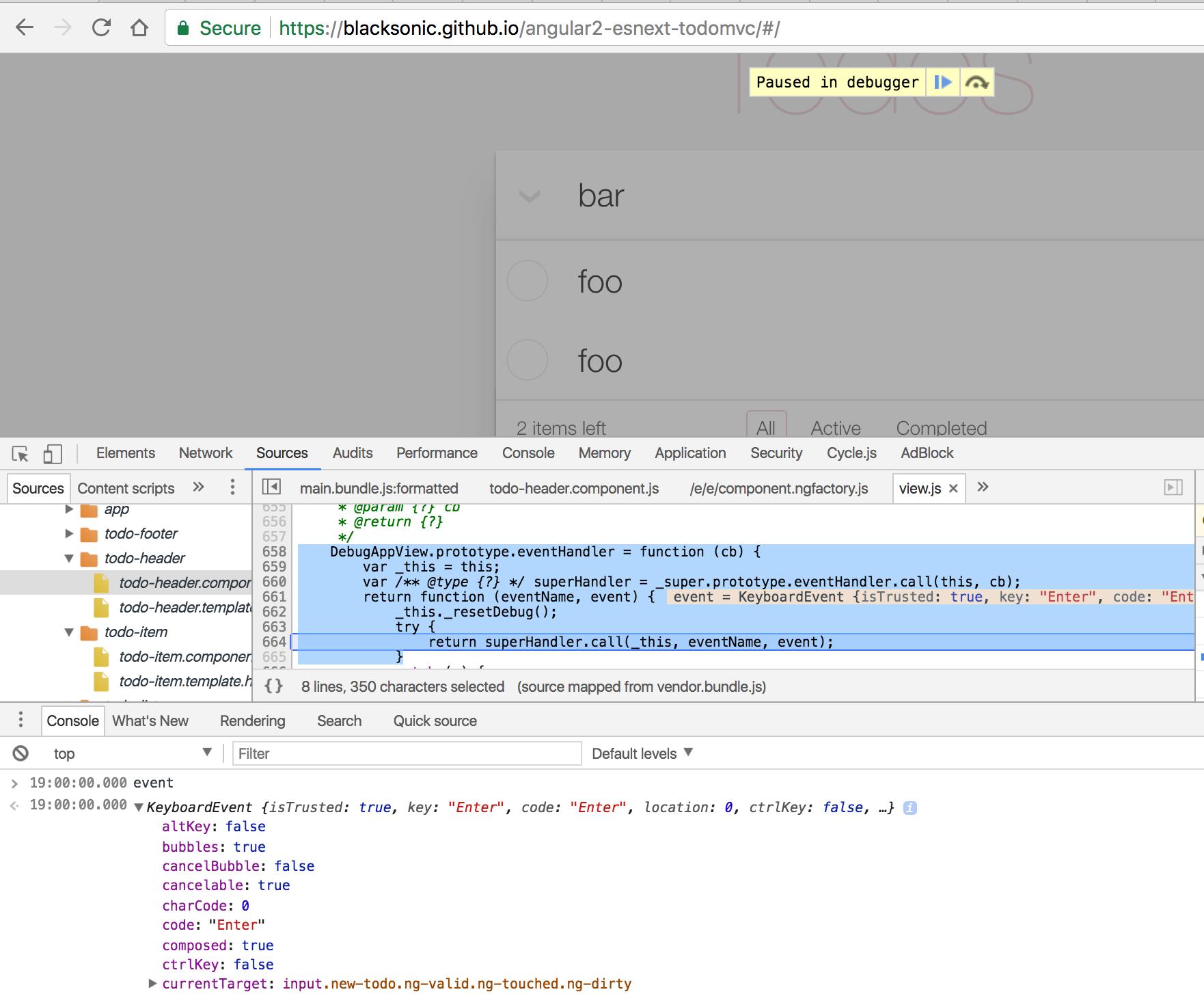 Problem with Angular2 TodoMVC · Issue #2 · bahmutov