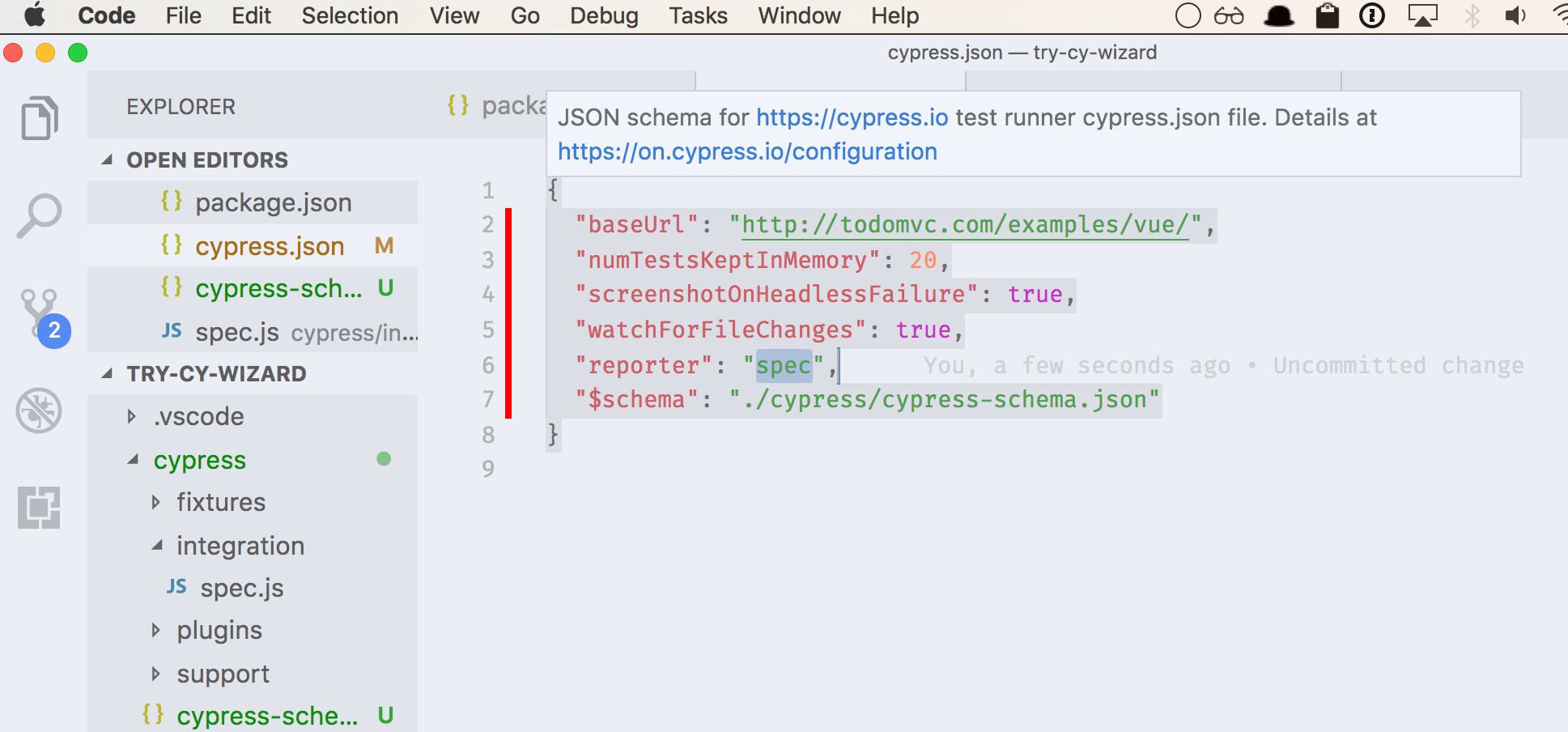 add cypressjson schema to schemastore issue 1109 cypress io
