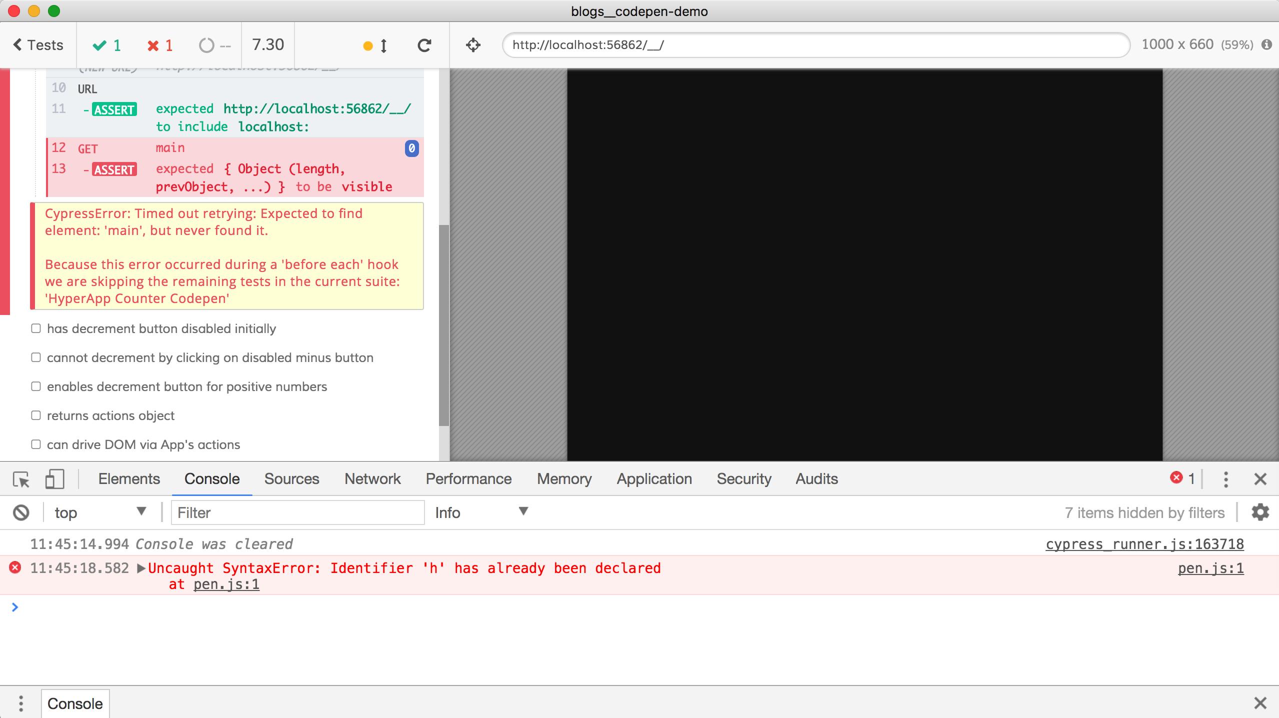 fix codepen example recipe: fails on CI · Issue #217 · cypress-io