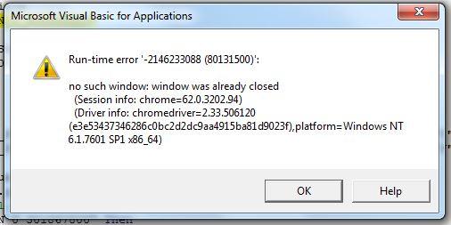 No such window: Window was already closed - Selenium VBA