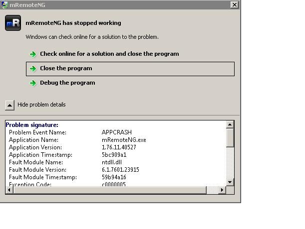 MRemote unstable keep crashing · Issue #1138 · mRemoteNG/mRemoteNG