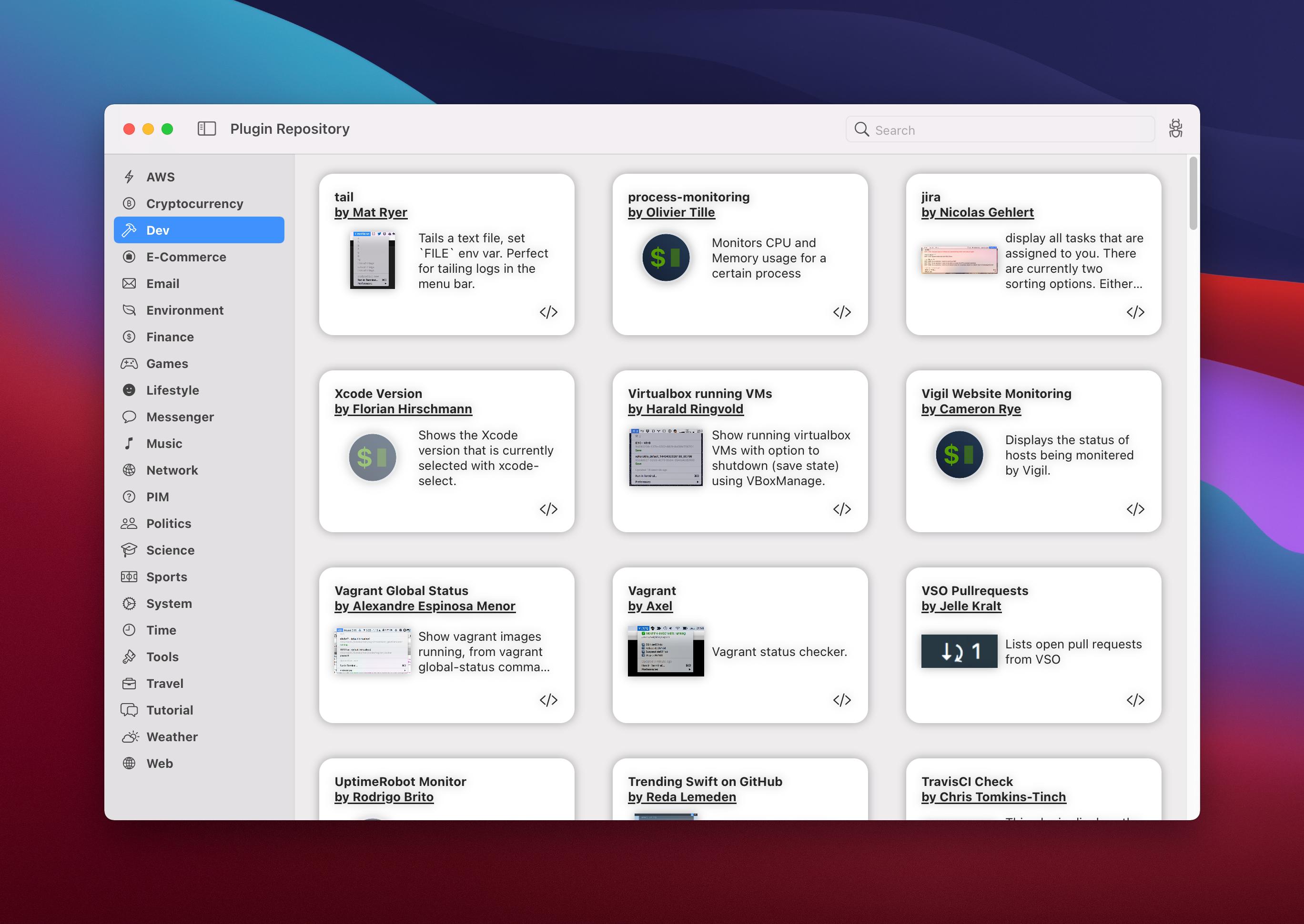 A screenshot of SwiftBar's Plugin Repository