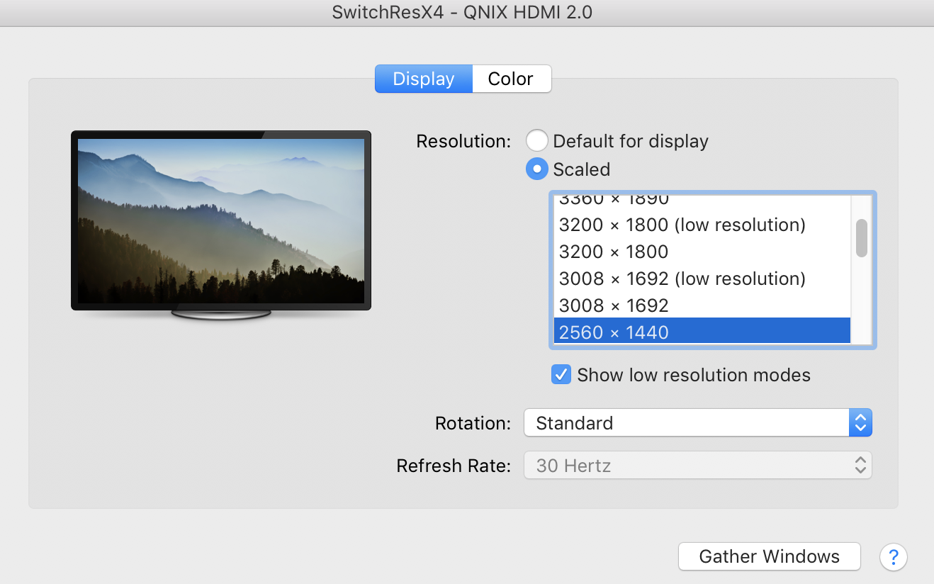 HiDPI 2560 x 1440 is NOT able to display at 60Hz (but 4K