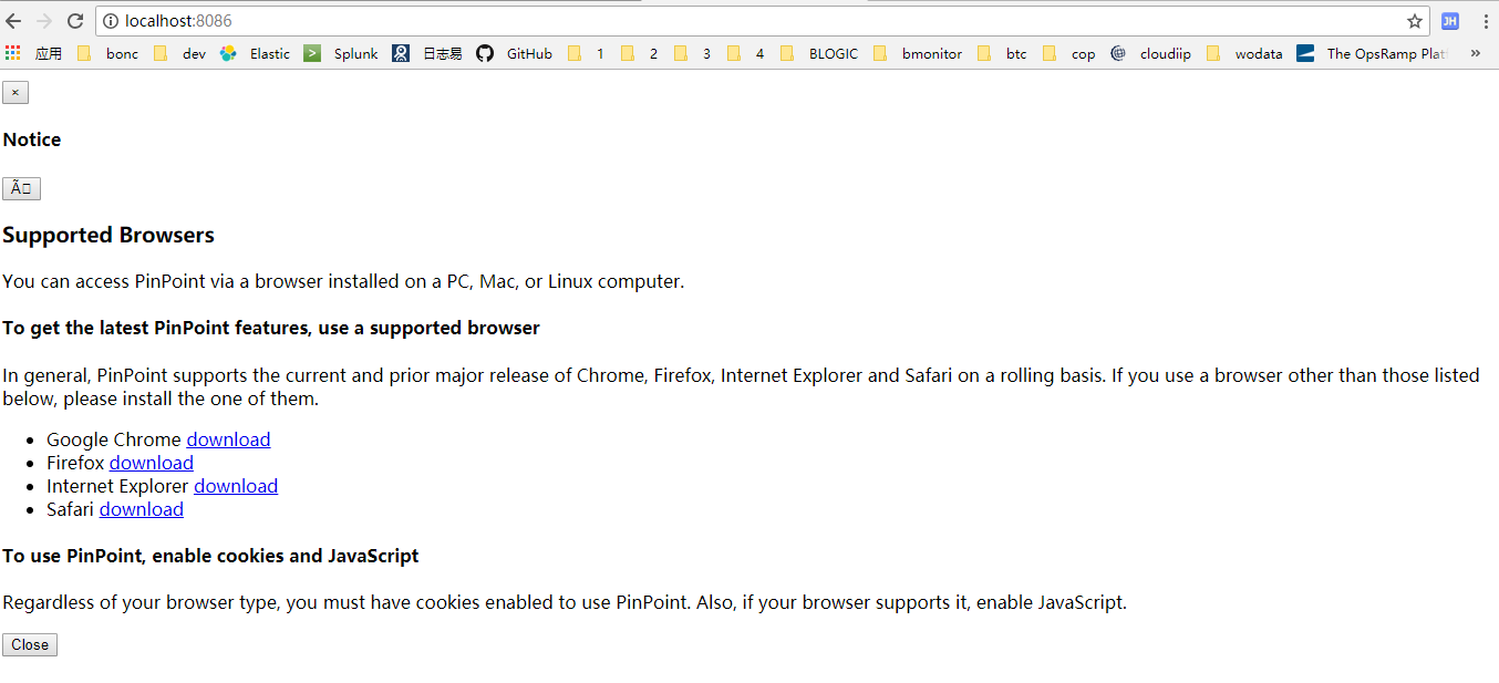 Pinpoint-web - To use PinPoint, enable cookies and JavaScript