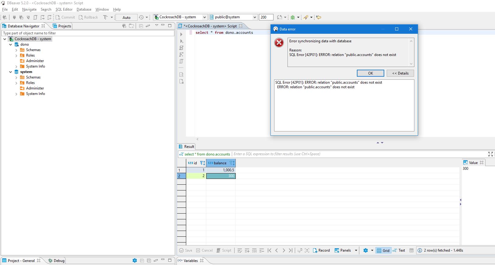 CockroachDB: Error synchronizing with database (SQL Error 42p01