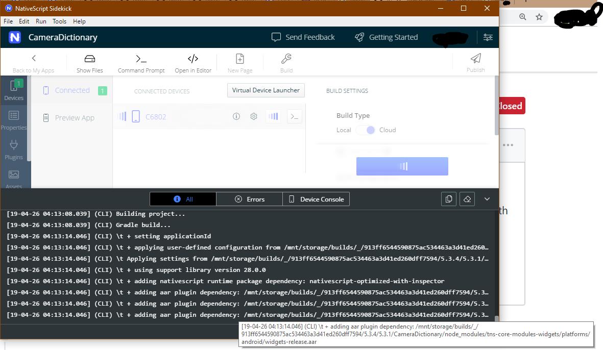 Run app cloud build looks frozen · Issue #372 · NativeScript