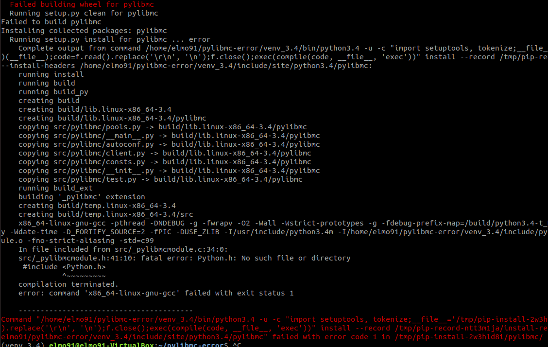 error: command 'x86_64-linux-gnu-gcc' failed with exit status 1