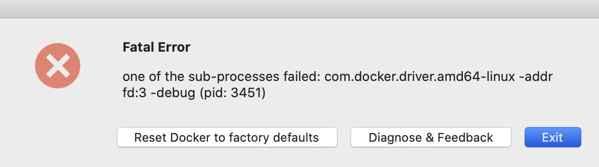 Fatal Error Docker for Mac crashes unexpectedly process: com