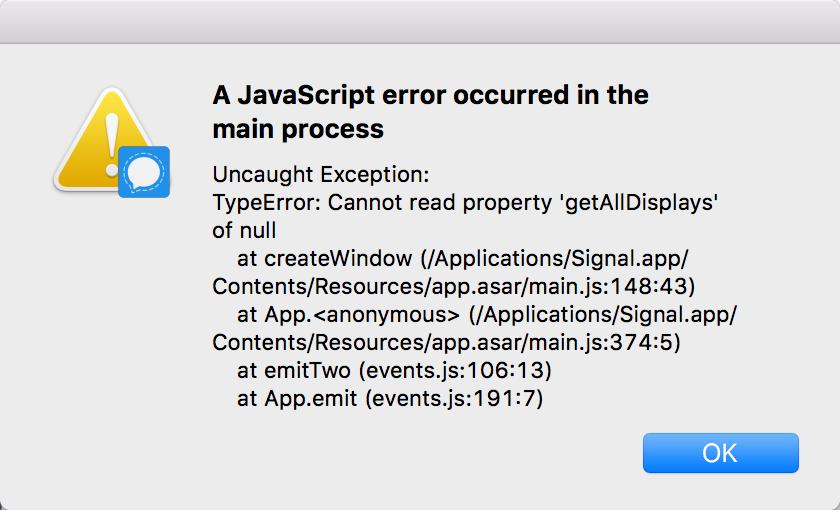Signal for Mac Not starting · Issue #1854 · signalapp/Signal-Desktop