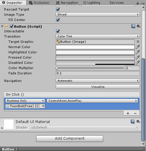 How to control an animation state using ui button in unity