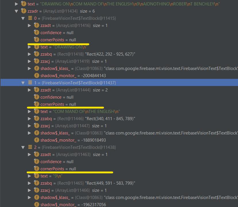 Android ML Kit Firebase FirebaseVisionText, block getCornerPoints