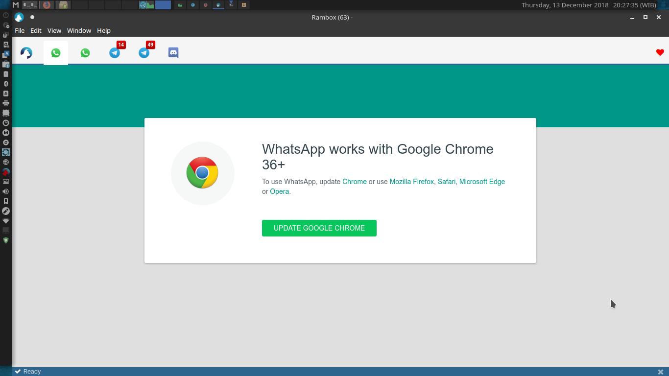 Whatsapp Web Ask For Google Chrome Update Issue 2009 Ramboxapp