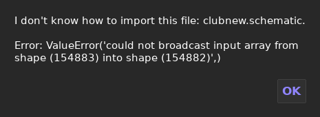 Error while importing schematics saved by WorldEdit. · Issue #887 on