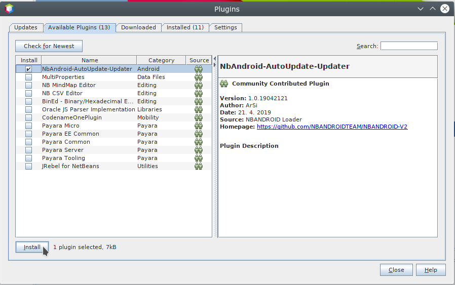 How to install NBANDROID V2 plugin to Apache NetBeans