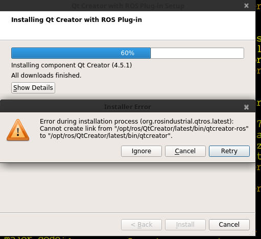 Online Installation fails to /opt/ros/QtCreator · Issue #287 · ros