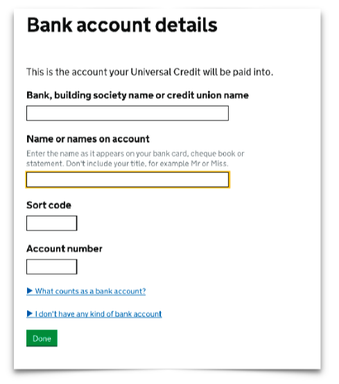 Dwp Bank Details