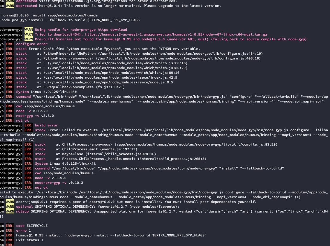 1 8 2 - Crash on npm install Docker Alpine · Issue #83